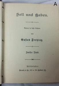 RARE American Printing German Soll und Haben 2 by Gustav Frentag Philadelphia