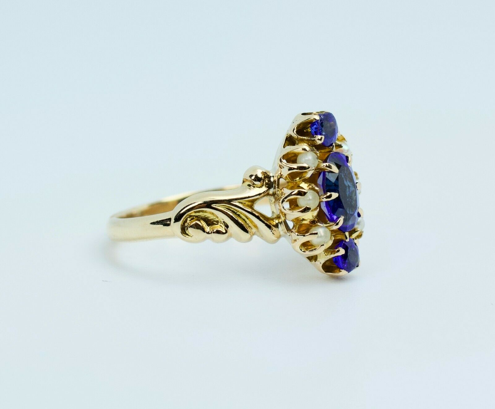 Vintage 14k Yellow Gold Oval Blue Synthetic Sapph… - image 5