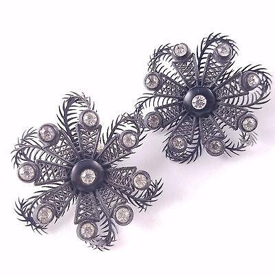 Signed MADE IN WESTERN GERMANY Earrings Black Lucite Flower Rhinestone BIN117
