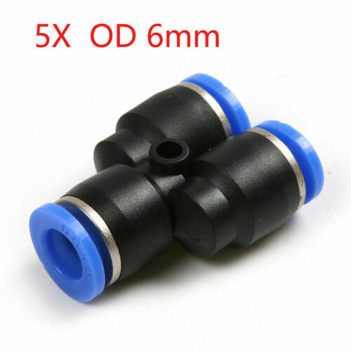 5pcs Tube OD 6mm 1//4/'/' Y Union Pneumatic Push Connector Air Line Quick Fittings