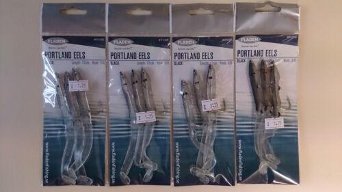 Maquereau // Basse // lieu jaune Fladen Portland anguille plates-formes 6//0 crochet Qté 4 packs