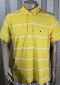 TOMMY-HILFIGER-Men-039-s-L-Large-Yellow-Orange-Striped-2-Button-Polo-Rugby-Shirt-EUC