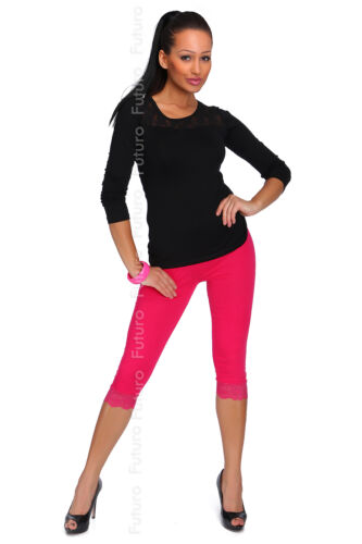 Cotton Leggings Various Lengths Full Length With Lace Gym Pants Cropped 3//4