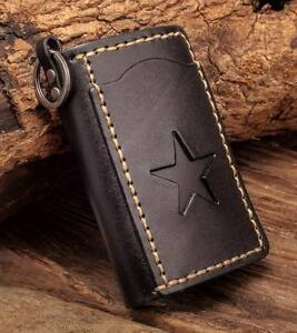 C76-Black-Mens-Punk-Star-Genuine-Leather-Card-Holder-Keychain-Key-Case-For-Women