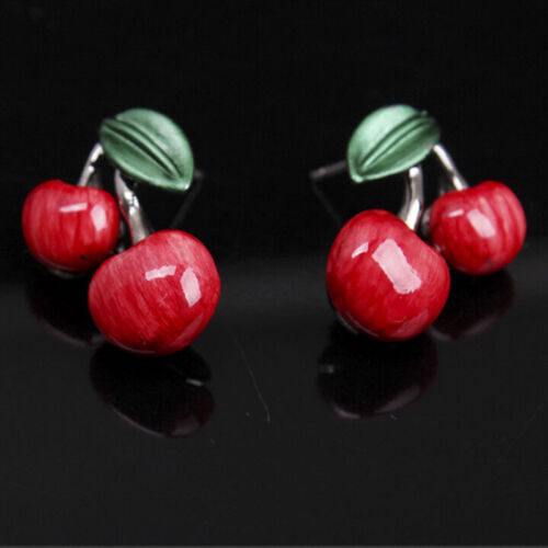 1 Set Fashion Red Cherry Jewelry Set Metal Bridal Necklace Earrings Chic D6FBDU
