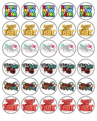 New Years Eve 30 Edible Wafer Paper Cupcake Toppers Cake ...