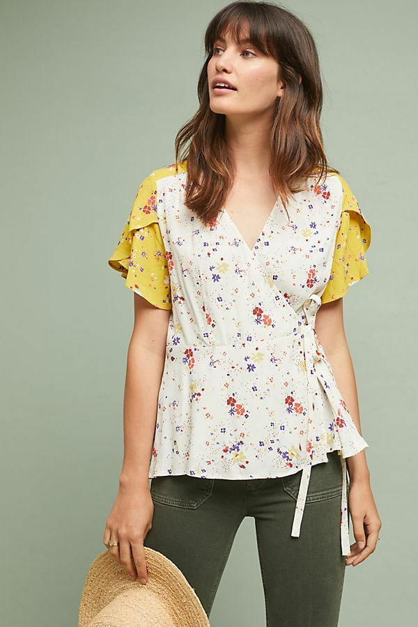 NWT Anthropologie Bon Voyage Blouse Floral M Top Medium Größe 8