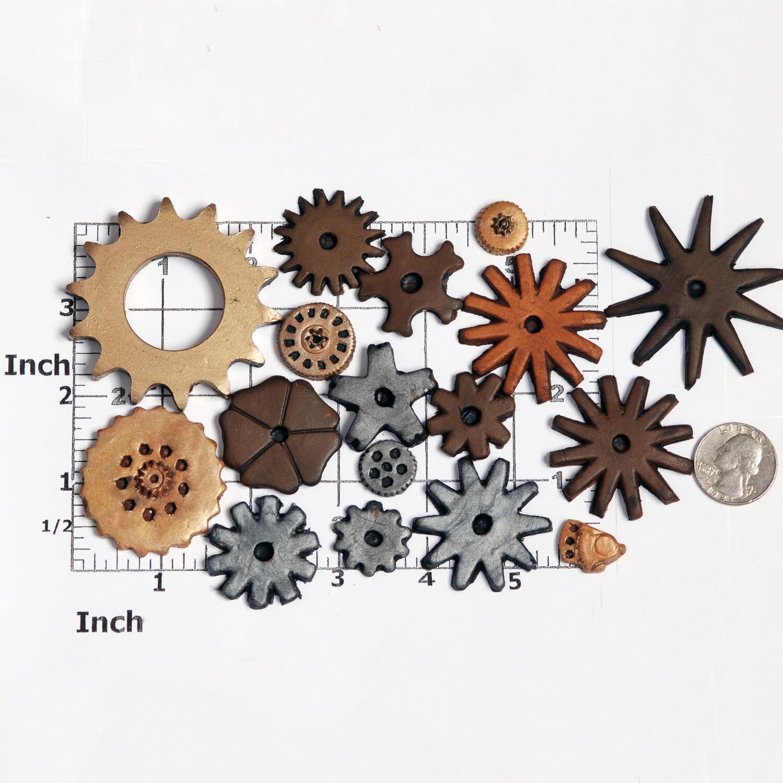 Silicone Steampunk Gear Gear Gear Cog Mold Set 6 Moulds Create 17 Gears Food Safe  (241) b8df46