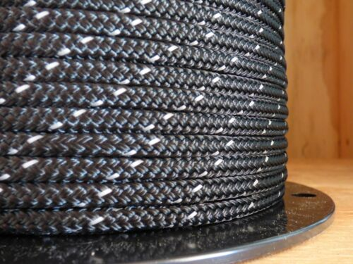 """1//4/"""" x 100 ft.Premium Polyester Halter//Accessory Rope.Black w// 3M Reflective."""