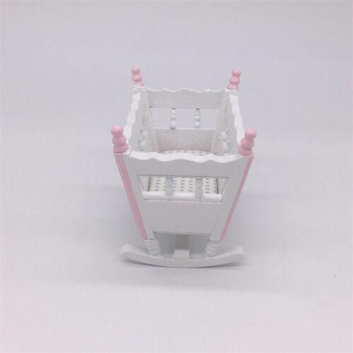 1:12 Dollhouse Miniature Baby Cradle Rocking Bed Nursery Crib Bedroom Furniture
