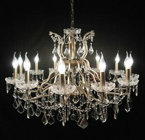 Large silver 12 arm branch french shallow cut glass chandelier high image is loading large silver 12 arm branch french shallow cut mozeypictures Images