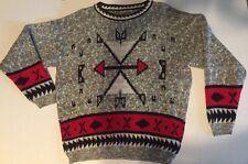 VTG 80s Unisex FuNkY NAVAJO AZTEC Indian Print Tribal Southwestern Sweater M-L