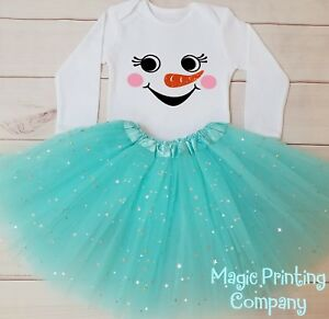 d0160c7f8689f Baby Snowman Costume Girls 1st Christmas Outfit Dress Top Gift ...