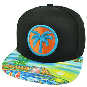 dc23a53521cab Palm Tree Beach Sand Ocean Vacation Tropical Snapback Hat Cap Black ...