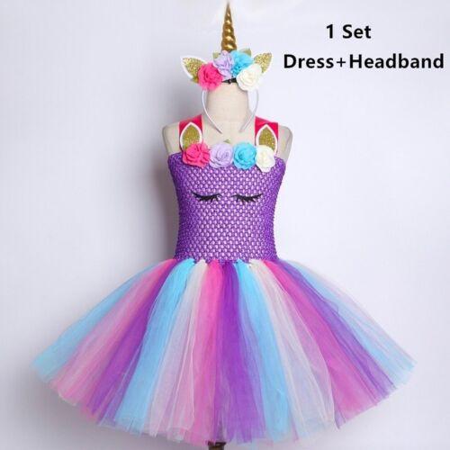 Purple Pastel Girls Unicorn Tutu Dress Princess Flower Girl Birthday Party
