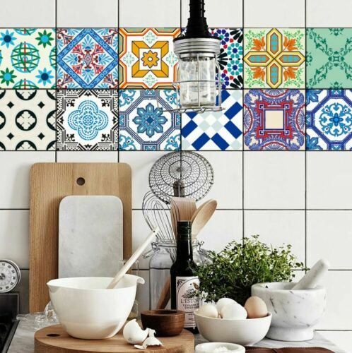 16 Pcs Moroccan Tile Sticker For Home Office Kitchen Bathroom Wall Table Decor