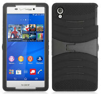 Black Rubber Grip Armor Case With Stand For Verizon Sony Xperia Z3v Phone