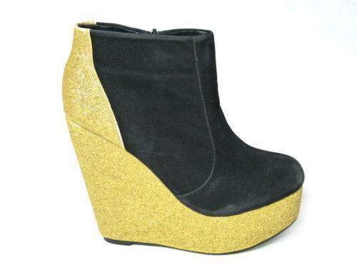 NEW WOMENS LADIES ANKLE BOOTS CHELSEA CHUNKY HIGH HEEL WEDGE PLATFORM SHOES SIZE