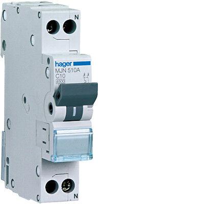 Abile Hager Interruttore Hager Magnetotermico 1p+ N 10a Mjn510