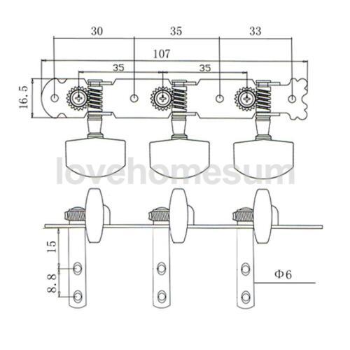 6 stk 3L3R Akustische Gitarre Stimmwirbel Mechaniken Tuner Chrome Gitarre