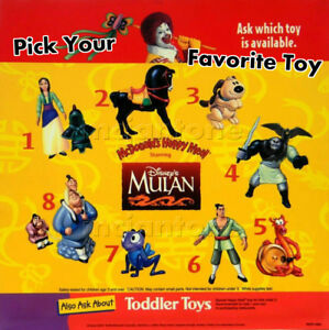 MIP-McDonald-039-s-1998-MULAN-Disney-CHINESE-WARRIOR-Girl-KHAN-Horse-MUSHU-Pick-TOY