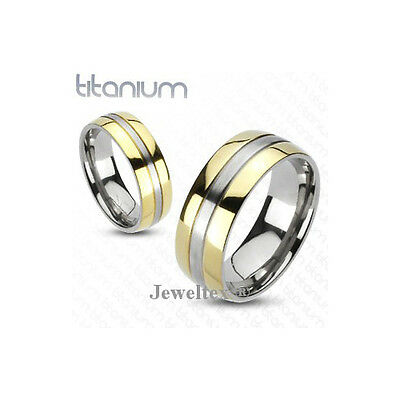 Solid Titanium White / Yellow Gold Finish 8mm Wide Band / Wedding Ring. HJ42M