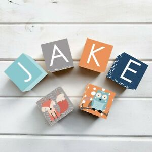 Details About Wooden Name Blocks Custom Personalised Letter Block Woodland Fox Owl Nursery Boy