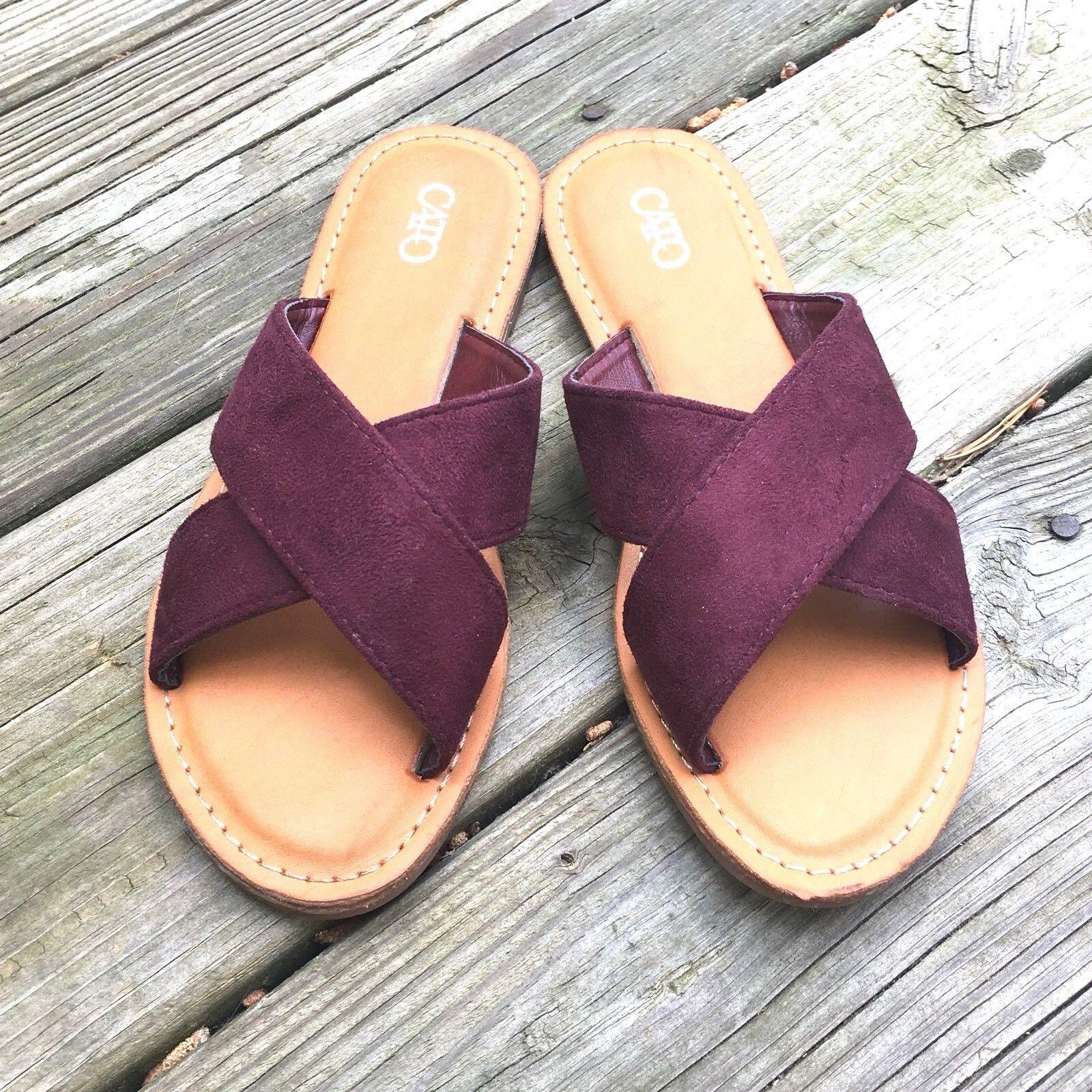 Cato Womens Sandals Size 6M Burgundy Slip On Flats Worn Cross Foot Clean Never Worn Flats 0cf225