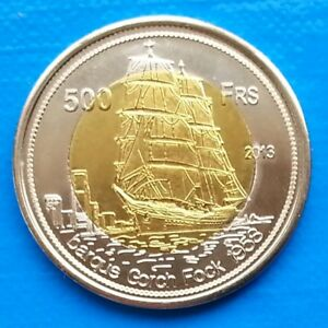 Tromelin-Island-500-Francs-2013-UNC-Sailing-Ship-Dolphin-Bi-metallic-unusual