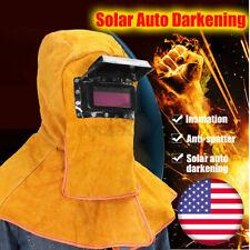 Solar Auto Darkening Filter Lens Welding Helmet Mask Leather Welder Hood Yellow
