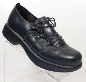 Dansko-Womens-Sz-40-Clogs-Casual-Lace-up-Shoes-Black-Leather-NO-INSOLES-11G