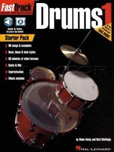 2019 Nouveau Style Fast Track Drums 1 Sheet Music Book/audio/vidéo Rock Blues Funk Mode-eo Rock Blues Funk Method Fr-fr Afficher Le Titre D'origine