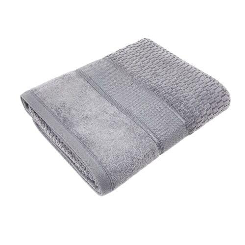 4 X De Luxe En Coton À Rayures Velours Look sentir siilver gris Serviette à main