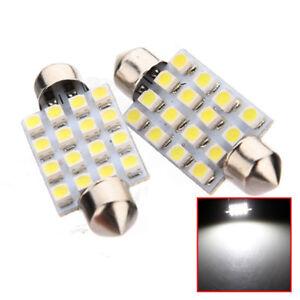 2X-42mm-C5W-16-SMD-LED-coche-cupula-Interior-Festoon-Bombilla-Lampara-Blanco-numero-luces