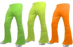 Adults-Neon-1970-039-s-Style-Flared-Trousers-Hippy-Flares-Disco-Fancy-Dress