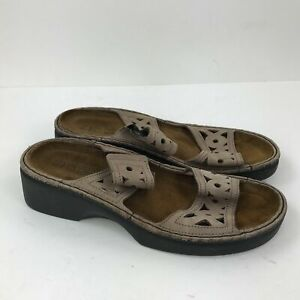 NAOT-Brown-Leather-Cut-Out-Slip-On-Low-Heel-Slides-Sandals-39-US-8-8-5