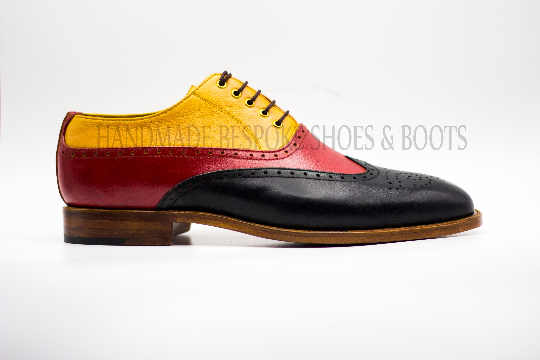 Men's Handmade Three Tone Black,Red & Tan Oxford Brogue Wingtip Lace-Up shoes