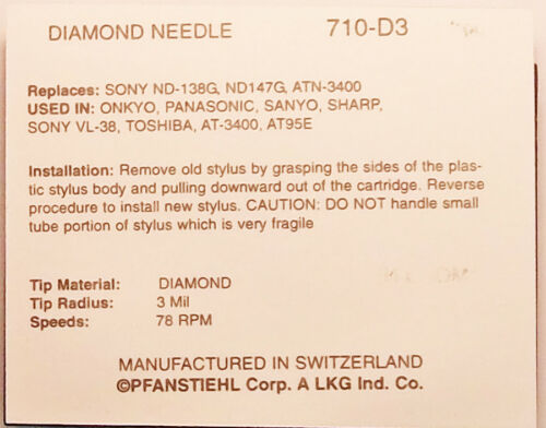 78 RPM PHONOGRAPH NEEDLE FOR Audio Technica AT95E AT3400 78 RPM Stylus 710-D3