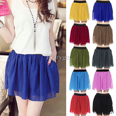New Womens Chiffon Short Culottes Pleated Pantskirt Shorts Pants Mini Skirt