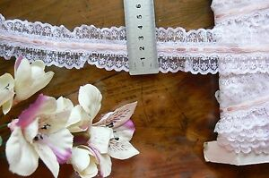 Poly-Gathered-WHITE-Lace-with-4mm-PINK-PEACH-Satin-Thread-5Metres-44mmWide-FRL