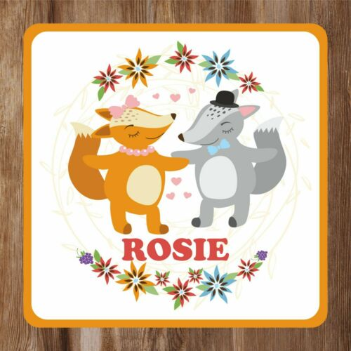 Kids Fox and Wolf Bedroom Door Sign personalised with Any Name