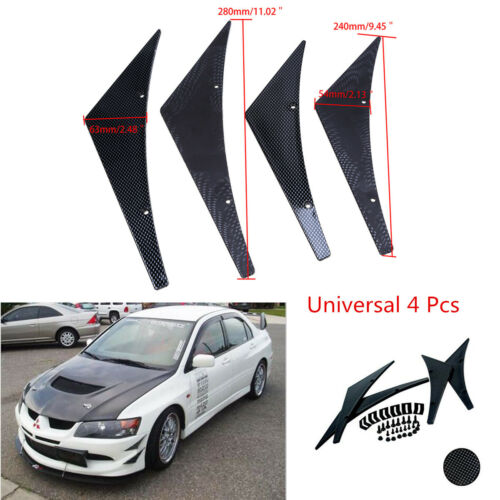 4 x ABS Plastic Car Front Bumper Splitter Fin Body Spoiler Guide Canards Valence