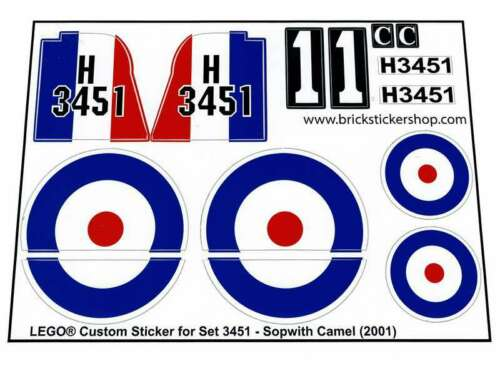 Precut custom replacement stickers for lego set 3451-sopwith camel 2001