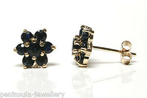 9ct-Gold-Sapphire-Cluster-Studs-earrings-Gift-Boxed-Made-in-UK