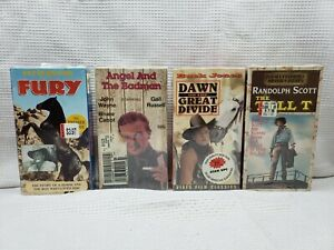 NEW-SEALED-CLASSIC-WESTERN-MOVIES-VHS-LOT-OF-4-JOHN-WAYNE-PETER-GRAVES-TALL-T