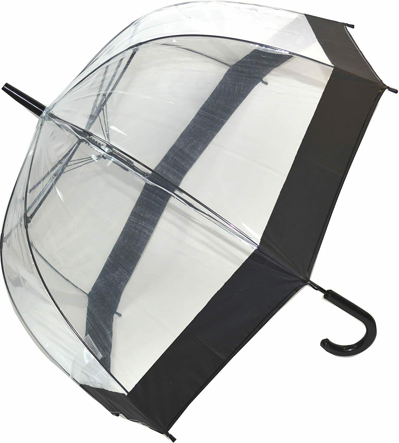 SOAKE Clear Umbrella Dome with Walking Stick Handle with Black Trim Unisex