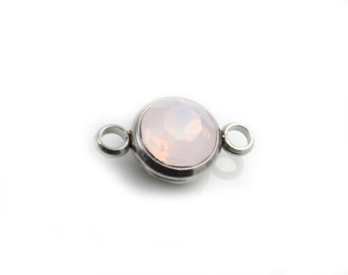 Acero inoxidable conector cristal rosa Opal 17,5 x 10 mm fabrican pulsera