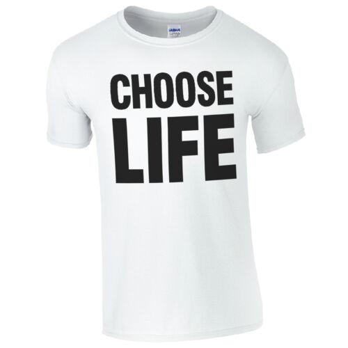 CHOOSE LIFE T-Shirt Retro Disco 80s Fancy Dress Music Fan Mens Gift Top