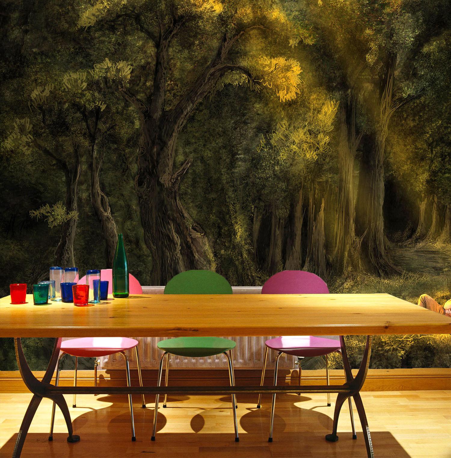 3D Schlafenden Mädchen, Wald Fototapeten Wandbild Fototapete BildTapete Familie