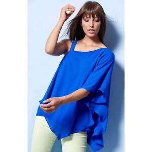 6e20057f69940 NEW Ex M CO Cobalt Blue One Shoulder Asymmetric Hem Tunic Top 10 12 ...